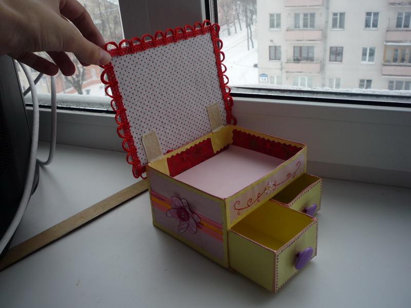 Коробка с выдвижными ящиками из картона своими руками
